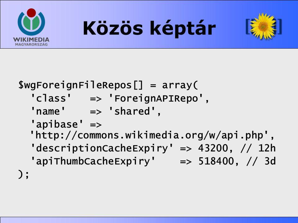 Közös képtár $wgForeignFileRepos[] = array(
